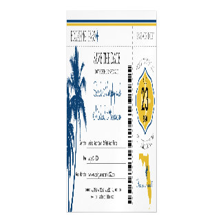 Florida Save the Date Boarding Pass Magnetic Invitations