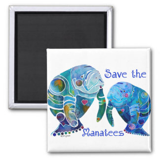 Florida Save the Manatees in Vivid Blues Square Magnet