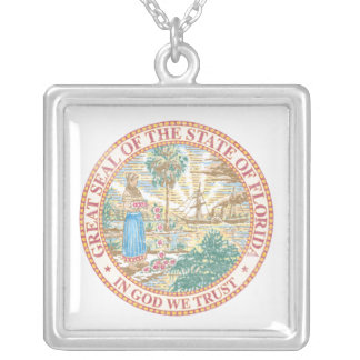 Florida Seal Silver Plated Necklace