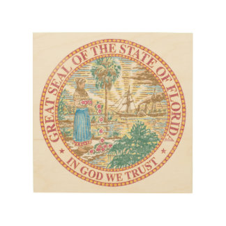 Florida Seal Wood Print