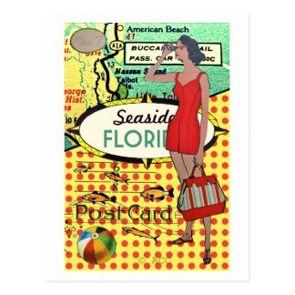 Florida seaside bathing beauty retro bathing suit postcard
