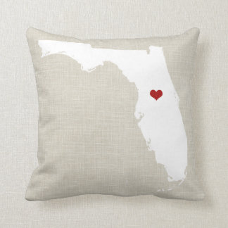 Florida State Pillow Faux Linen Personalized