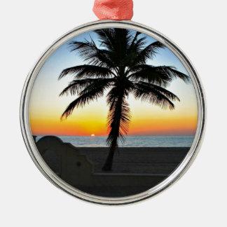 Florida Sunrise with Palm Tree Metal Ornament