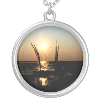 Florida Sunset Beach Grass Photo Silver Plated Necklace