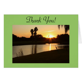 Florida Sunset Lake Thank You! Greeting Card