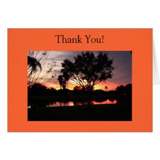 Florida Sunset Lake Thank You Greeting Card
