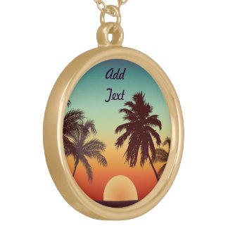 Florida Sunset Round Pendant Necklace