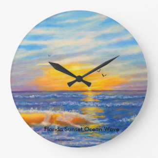 """FLORIDA SUNSET OCEAN WAVE AT ST. PETE"" CLOCK"