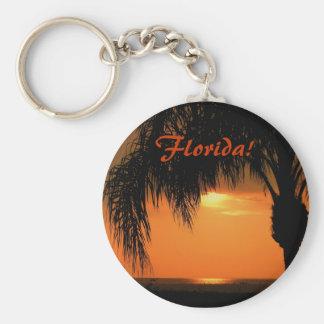 Florida! Sunset ove the Gulf, Palm Tree Keychain