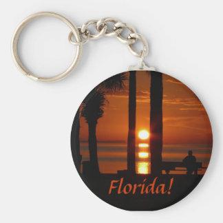 Florida! Sunset Thru 2 Palm Trees Basic Round Button Key Ring