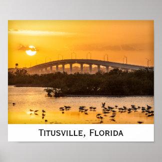 Florida Sunset Travel Photography - Titusville Poster