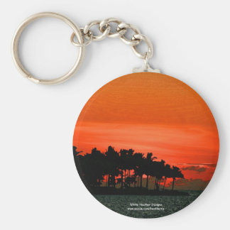 Florida sunset with palm trees key chain