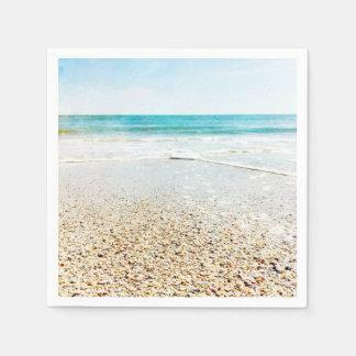Florida Tropical Beach Sand Ocean Waves Sea Shells Disposable Serviette
