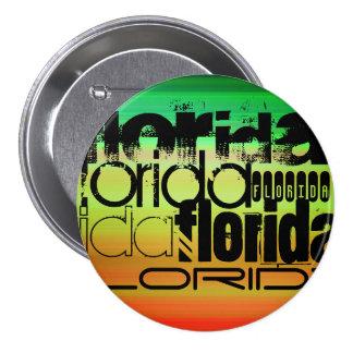 Florida; Vibrant Green, Orange, & Yellow 7.5 Cm Round Badge