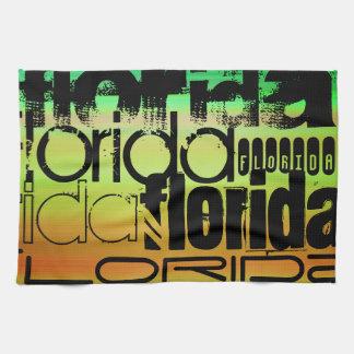 Florida; Vibrant Green, Orange, & Yellow Kitchen Towel
