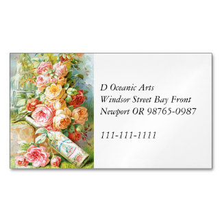 Florida Water Cologne with Cabbage Roses Magnetic Business Card