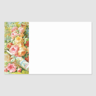 Florida Water Cologne with Cabbage Roses Rectangular Sticker