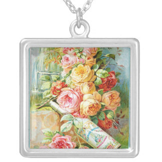 Florida Water Perfume Label with Cabbage Roses Silver Plated Necklace