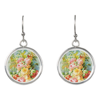 Florida Water Perfume with Cabbage Roses Earrings