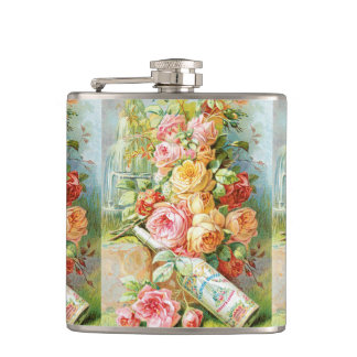 Florida Water Perfume with Cabbage Roses Hip Flask