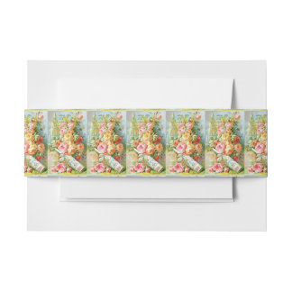Florida Water Perfume with Cabbage Roses Invitation Belly Band