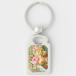 Florida Water Perfume with Cabbage Roses Key Ring