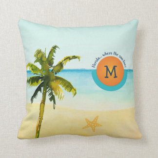 Florida... Where the Sun Lives Peaceful Beach Cushion