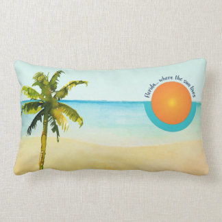 Florida... Where the Sun Lives Peaceful Beach Lumbar Pillow