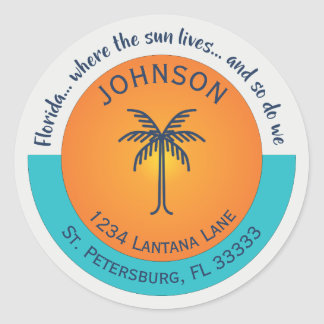 Florida... Where the Sun Lives Return Address Classic Round Sticker