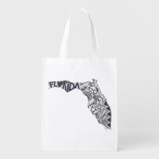 Florida Zentangle Reusable Bag Grocery Bags
