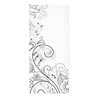 Florish Floral Victorian Flowers Illustration Custom Rack Card