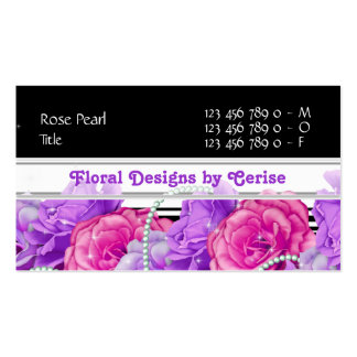 Florist flower designer rose purple black pink business card