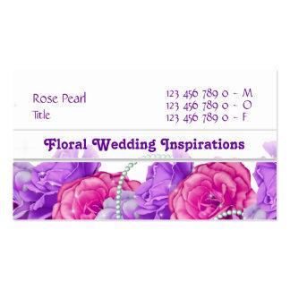 Florist flower designer rose purple business cards