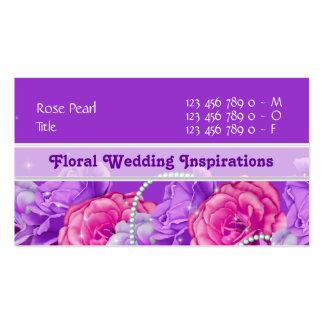 Florist flower designer rose purple pink business cards