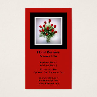 Florist | Roses Bouquet Vertical Black Red Business Card