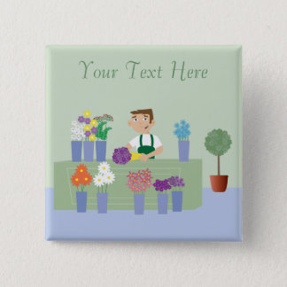 Florist Working In Store With Flowers Personalized 15 Cm Square Badge