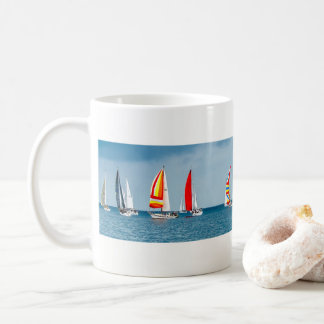 Flotilla of Sail Boats on a Clam Sea Coffee Mug