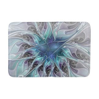 Flourish Abstract Modern Fractal Flower With Blue Bath Mats