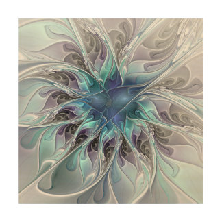 Flourish Abstract Modern Fractal Flower With Blue Wood Wall Art