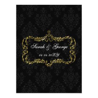 flourish black gold damask Christmas Invitations