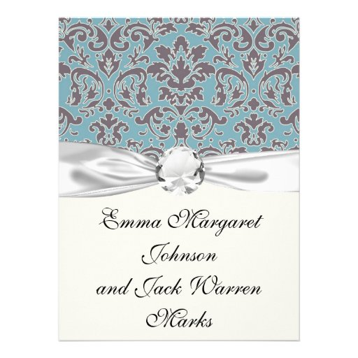 flourish blue and grey damask announcement