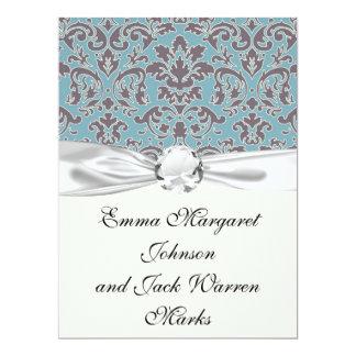 flourish blue and grey damask 17 cm x 22 cm invitation card