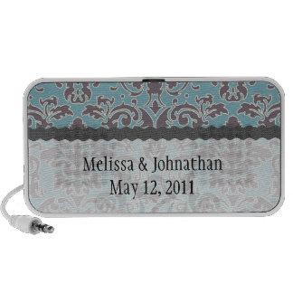 flourish blue and grey damask wedding keepsake mini speakers