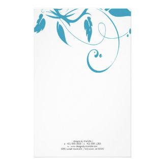 flourish; blue custom stationery