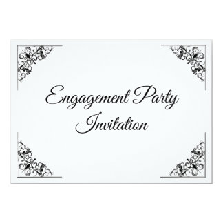 Flourish corner Engagement Invitation double sided