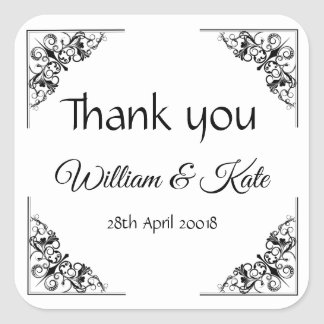 Flourish Corners Wedding thank you labels stickers