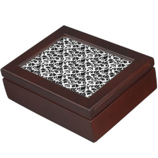 Flourish Damask 2Way Pattern Black & White Keepsake Box