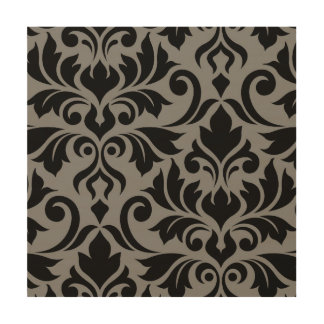 Flourish Damask Art I Black on Gray