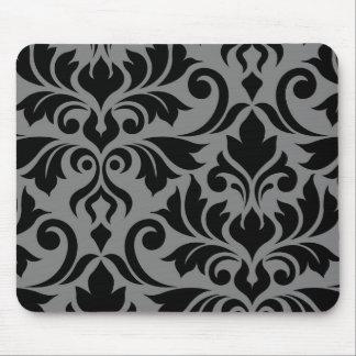Flourish Damask Art I Black on Gray Mouse Pad