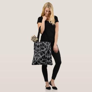 Flourish Damask Art I Black on Gray Tote Bag